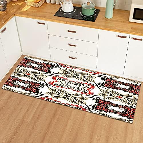 OPLJ Alfombra de Cocina Decoración del hogar Felpudo de Entrada Patrón 3D Dormitorio Pasillo Sala de Estar Piso Alfombra Baño Alfombra Antideslizante A3 50x160cm