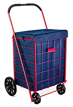 Shopping Cart Liner - 18  X 15  X 24  - Square Bottom Fits Snugly Into a Standard Shopping Cart Cover and Adjustable Straps for Easy and Secure Attachment Made from Waterproof Material Navy Blue