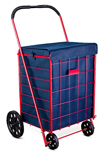 Shopping Cart Liner - 18' X 15' X 24' - Square Bottom Fits Snugly Into a Standard Shopping Cart. Cover and Adjustable Straps for Easy and Secure Attachment. Made from Waterproof Material, Navy Blue