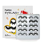 Faux Mink Eyelashes Fluffy Thick False Lashes Natural Eyelashes Extension-10 Pairs Mixed Pack