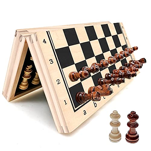 """YJZ Chess Set 12"""" Folding Wooden Set with Magnetic Chess, Set with Storage Slot Includes 2 Extra Queens, Perfect Choice for Children and Adult Travel Chess Sets, Birthday for Rewards Beginners… (A)"""