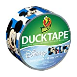 Duck Brand 284703 Disney-Licensed Mickey Mouse Printed Duct Tape with Blue Stripes, 1.88 Inches x 10 Yards, Single Roll