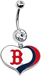 Boston RED SOX Baseball Heart Team Navel Belly Button Ring Body Jewelry Piercing 14 Gauge