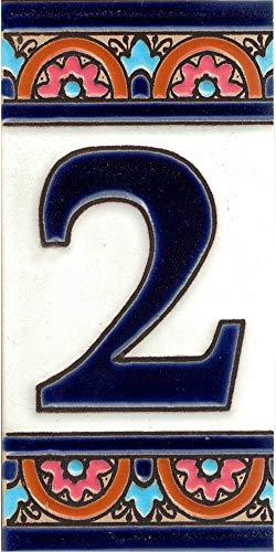 TORO DEL ORO Hausnummern, Zahlen und Buchstaben auf Fliesen, emaillierte Keramik, handbemalt, technische Schnur, Namen und Adressen, blaues Bogen-Design 5,5 x 10,5 cm (Zahl 2