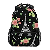 A Seed Backpack School Bag Paris Eiffel Tower Floral Rose for Boy Girl, Color663, 11.5x8x16inch