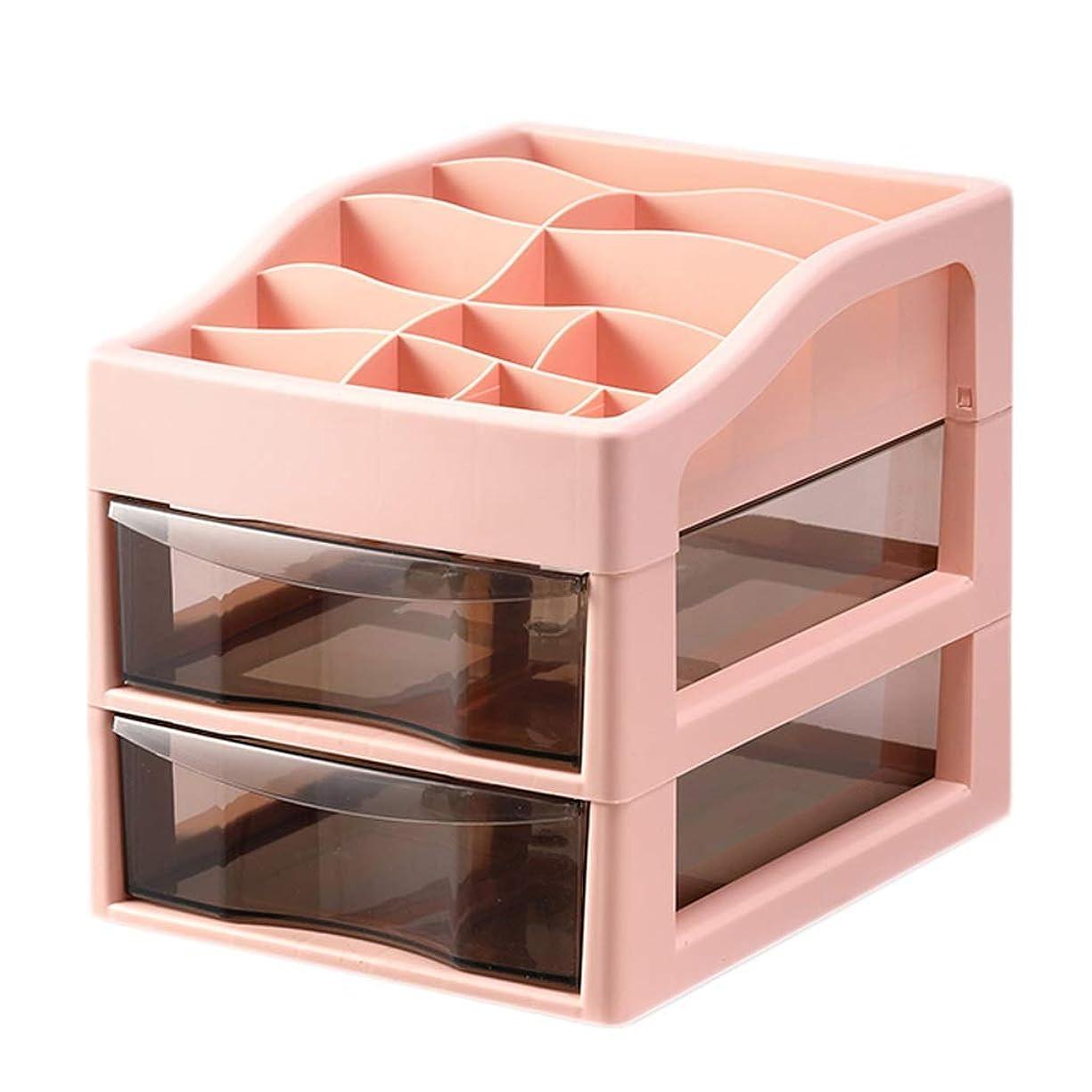 生きているキネマティクスグローバルプラスチック製のシンプルな化粧品収納ボックスデスクトップ口紅ジュエリースキンケア製品収納ディスプレイボックス(色:ピンク、サイズ:34 * 26.5 * 29 cm)