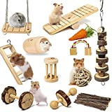 Sofier Hamster Chew Toys Set 12 Pack Natural Wooden Hamster Toys and Accessories Teeth Care Molar Toys for Guinea Pigs Syrian Hamster Rats Chinchillas Gerbils Hamster Hideout Swing Seesaw