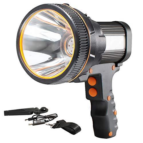 AF-WAN Handscheinwerfer Wiederaufladbar USB,Wiederaufladbare Led Handscheinwerfer 6000 Lumen LED Taschenlampe Laterne mit 5 Leuchtmodi,Wasserdicht Led Suchscheinwerfer Aufladbar für Camping(Schwarz)