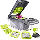 Vegetable Chopper, ENLOY 12 in 1 Onion Chopper Dicer, Food Slicer Cutter for Vegetable, Adjustable Mandolin Chopper with Container