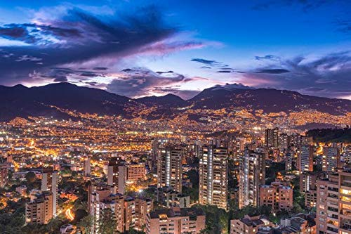 Medellin, Colombia - City Skyline & Lights at Night 9026669 (12x18 Art Print, Wall Decor Travel Poster)