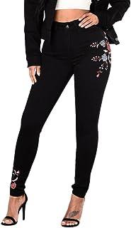 c4e2241b9f4f8 ADESHOP Chic Jeans Femmes Taille Haute Floral Crayon Jeans Pantalons Dames  Brodé Denim Pants Femmes ÉLasticité