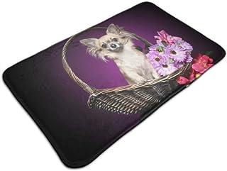 HJSHG Indoor Doormat Mat Chihuahua Bouquet Flowers Sitting Wicker Basket Door Mat Non Slip Outdoor Door Rug Outdoor Doorma...