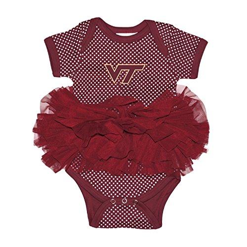 Two Feet Ahead NCAA Virginia Tech Hokies Children Girls Pin Dot Tutu Creeper,Nb,Maroon