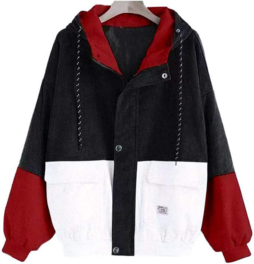 Hypeshops Women Hoodie Hooded Coat Color Block Zip Up Jacket Casual Loose Outwear Oversize