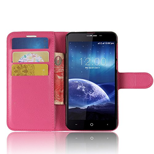 SMTR LEAGOO Kiicaa power Wallet Tasche Hülle - Ledertasche im Bookstyle in Rose - [Ultra Slim][Card Slot][Handyhülle] Flip Wallet Case Etui für LEAGOO Kiicaa power