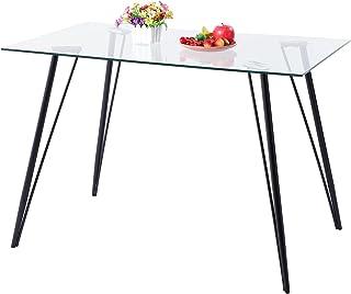 H.J WeDoo Rectangulaire Table de Salle à Manger Moderne Table de Cuisine en Verre et Pieds en Métal 110 x 70 x 75 cm