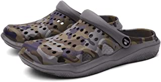 FDSVCSXV Mens Garden Clogs Mules, Anti-Slip Water Shoes Outdoor Beach Shower Breathable Sandals Slippers,Gray,39