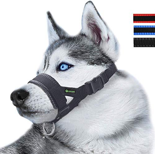 ILEPARK Bozal de Nylon para Perros Grandes Previene Mordidas, Ladridos y Que Mastiquen, Bozal Lazo Ajustable (L,Negro)