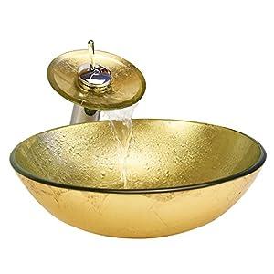 HomeLava Conjunto de Lavabo Lavabo Sobre Encimera con Grifo de Cascada para Baño/Hotel/Salón de Belleza, Color dorado