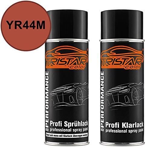 TRISTARcolor Autolack Spraydosen Set für Acura/Honda YR44M Sunford Orange Metallic Basislack Klarlack Sprühdose 400ml