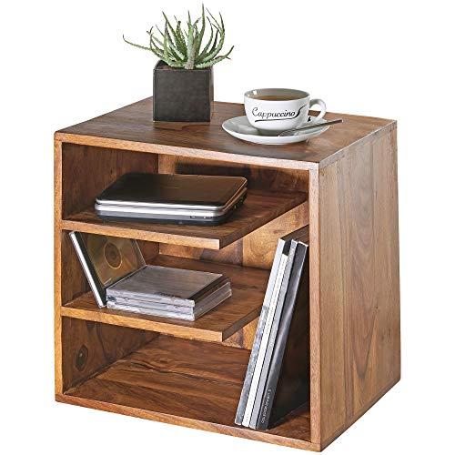 FineBuy Beistelltisch SARNUR 43x43x30 cm Sheesham Massivholz Design Nachttisch | Kleiner Wohnzimmertisch mit Ablagen | Designer Holztisch massiv | Nachtkonsole Nachtkommode Holz | Anstelltisch modern