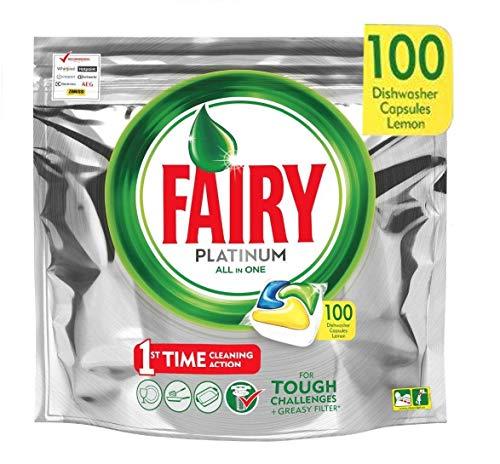 Fairy Platinum - Spülmaschinentabs All-In-One 100 Kapseln Zitrone Lemon Geschirrspültabs