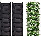 7 bolsillos verticales montados en la pared, 2 unidades, para plantas, jardín, decoración del hogar