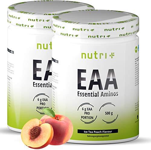 Vegan EAA Powder 1kg Eistee-Pfirsich - HÖCHSTE DOSIERUNG - alle essenzielle Aminosäuren - Ice-Tea Peach Geschmack EAAs - Amino Acids - Essential Aminos Pulver