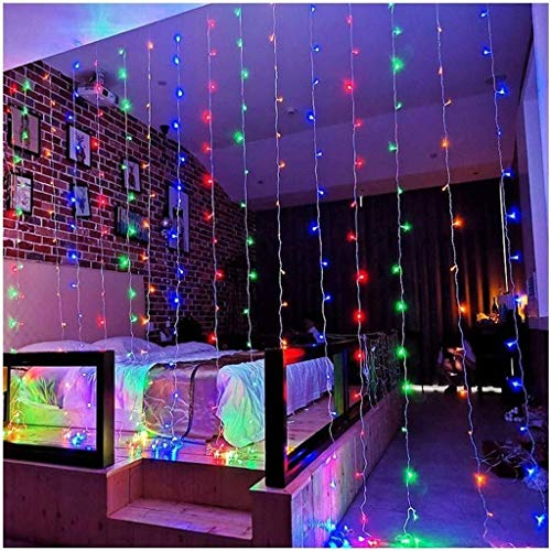 ZBM-ZBM Gordijn Fairy Lichtsnoer, 300 LED-8-modi 3m X 3m decoratief venster verlicht waterdicht Fee-snoer licht voor tuin partytent patio etc. Lichtketting