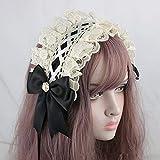 Gothic Lolita Headdress Maid Lace Hair Accessories Cute Cosplay Headbands Sweet hairpin (Black)