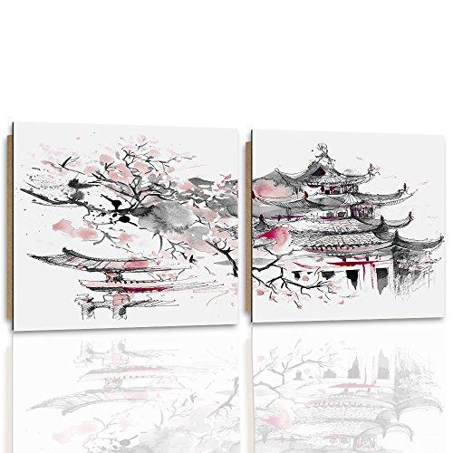 Feeby. Cuadro - 2 Partes - 80x40 cm - Forma Cuadrada, Cuadros decoración, Imagen Impresa en Papel, Deco Panel, JAPÓN, Arquitectura, Gris