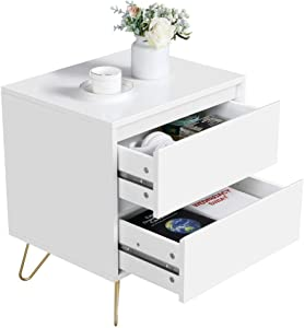 Yaheetech Modern Bedside Table with 2 Drawers Iron Legs Wooden Nightstand Bedside Storage Cabinet for Bedroom, White