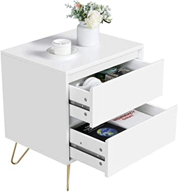 YAHEETECH Bedside Table Nightstands with 2 Storage Drawers Iron Legs - Coffee Table Bedside Storage Cabinet for Bedroom, 19.7Lx15.7Wx22.4H Inch