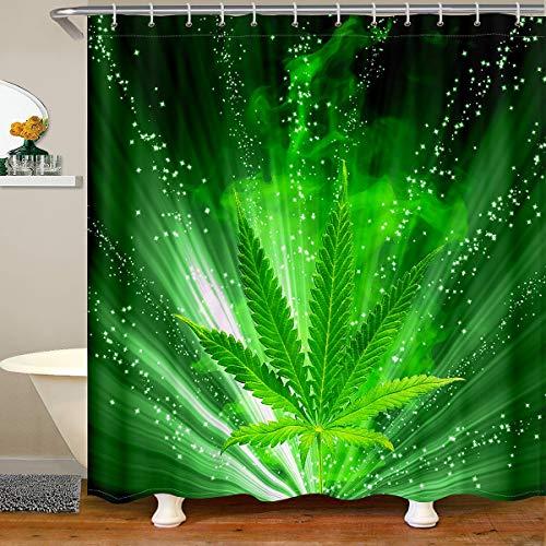 Loussiesd Cortina de ducha con hojas de marihuana, cortina de baño para plantas botánicas, juego de cortina de ducha, diseño de hojas de marihuana, 180 x 210 cm, color verde