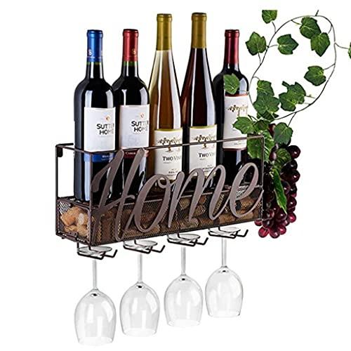 YMLSD Estantes para Vino, Decoración de Bar, Metal Industrial para Montar en la Pared para el Hogar, Soporte para Botellas de Vino Y Soporte para Copas de Vino Y Almacenamiento de Corcho, 5 Botellas