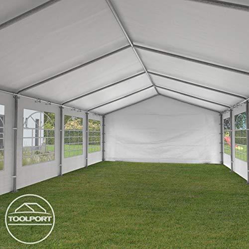 TOOLPORT Partyzelt Pavillon 4x8 m in weiß 180 g/m² PE Plane Wasserdicht UV Schutz Festzelt Gartenzelt - 9