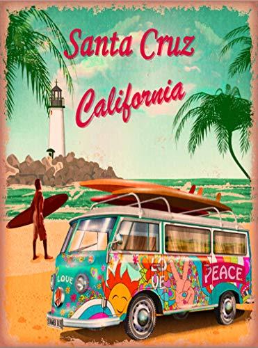 A SLICE IN TIME Santa Cruz Beach Boardwalk Surf Surfer VW Volkswagon Van California Retro United States Travel Art Poster Print. 10 x 13.5 inches