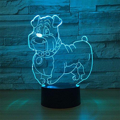 LT&NT Lampe 3D Chien Illusion d'Optique LED Lights Table Lampe veilleuse 7 Couleurs changeantes USB Tactile Distant noël Cadeaux d'Anniversaire pour Les Enfants -Touch + Télécommande