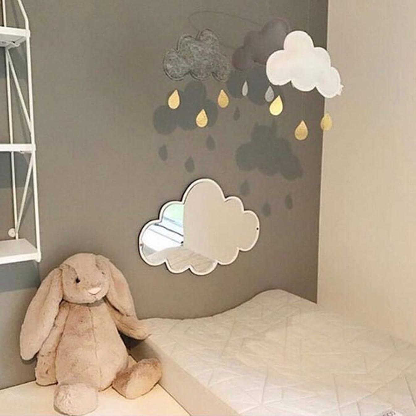 Nodic Kid Bedroom Nursery Decoration Cute Cloud Face Mirror Shatterproof Wood Decor Acrylic Mirror Garden Wall Art Decor Gift