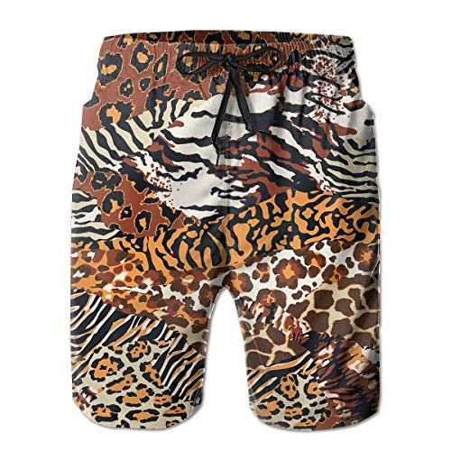 SARA NELL Men's Swim Trunks Wild Animal Skins Cheetah Leopard Tiger Zebra Surfing Beach Board Shorts Swimwear