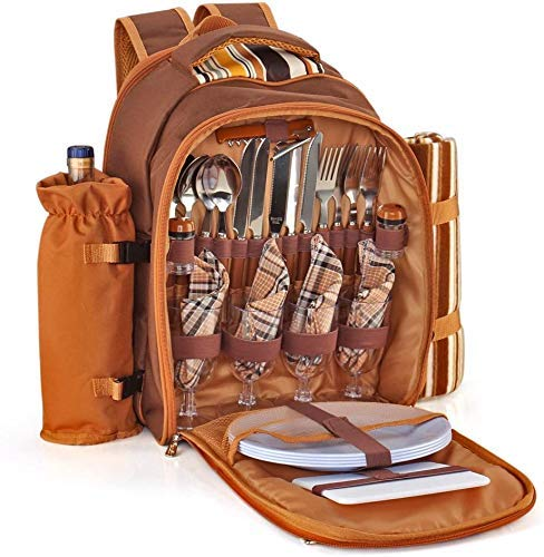 Picnic Backpack Kit - Set for 4 Person Bag with Insulated Cooler Compartment, Detachable Bottle/Wine Holder, Fleece Blanket, Plates, Flatware Cutlery for Family People (Plaid Tartan - Brown)