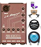 LR Baggs Para Acoustic DI Box Bundle with Blucoil 10-FT Balanced XLR Cable, 10-FT Straight Instrument Cable (1/4in), 2-Pack of Pedal Patch Cables, and 2 9V Alkaline Batteries