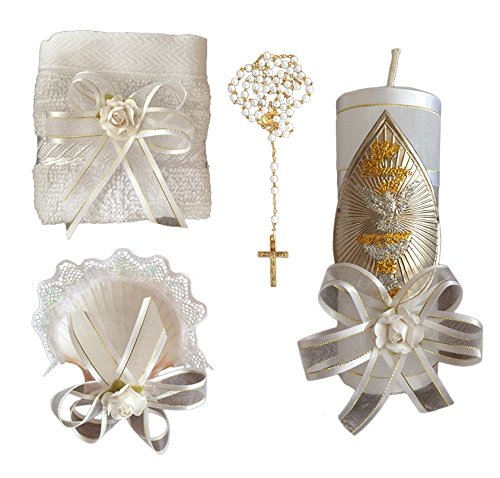 Kit de Bautizo, Baptism Christening Kit, Catholic Handmade kit with Towel, Rosary, Baptism Candle and Baptism Shell, kit de bautizo con Toalla, Concha y Rosario, White Baptism Favor