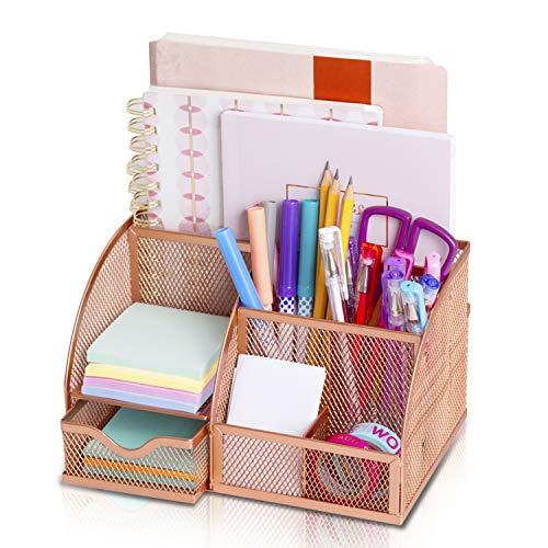 All4You Rose Gold Desk Organizers | Desk Storage Office Organizer and Cute Desk Decor for Women | Office Decor for Desk Accessories | Pen Holder and Pencil Organizer | Makeup organizer for Vanity