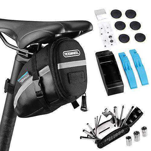 Lixada Bolsa de Sillín para Bicicleta con Herramientas de Reparación 14/16 en 1 Multifuncional Kit Pinchazos Bicicleta (Negro,16 en 1-Kit 2)
