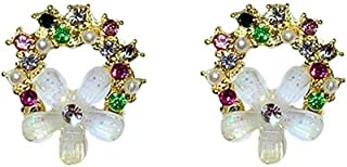 Girl Silver Needle Flower Earrings Temperament Diamond Painted Ear Pendant Simple Fashion Ear Ornaments Jinlyp (Color : Golden)
