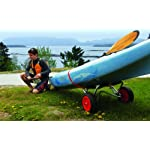 """Malone Clipper Deluxe Universal Kayak Cart 9 Universal frame supports canoe or kayak Includes airless """"Never-Go-Flat"""" removable 10"""" tires Oversized padded frame protects boat and includes stabilizing locking kickstand"""