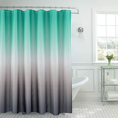 Creative Home Ideas Ombre Textured Beaded Rings Shower Curtain Set, Turquoise/Grey