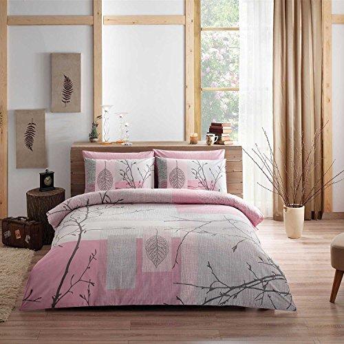Tac | Ranforce | Laurel | Beddengoed Set | voor 2 personen | 200cm x 220cm | 4-delig | Modern design | onderhoudsvriendelijk | Huidvriendelijk | 100% katoen | Wit & Roze & Grijs