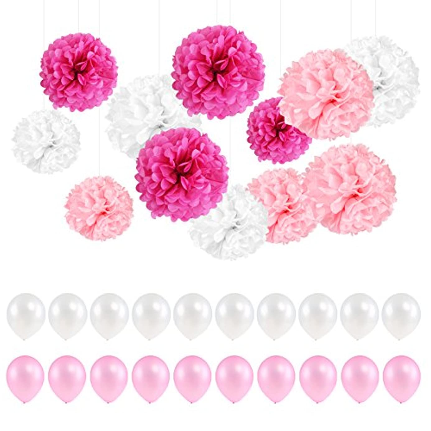 Kesoto 12pcs Tissue Hanging Paper Pom-poms with 24pcs Balloons for Baby Shower Decorations, Wedding Decor, Birthday Party Celebration kgxsvu7785